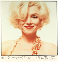 "Bert Stern (b. 1929). Marilyn Monroe, ""The Last Sitting,"" 1962. Hand colored print, signed, dated and numbered. Sold for $146,000 at Christie's December 2008 sale of the Constantiner Collection."