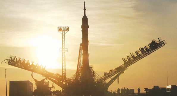 The Soyuz TMA spacecraft readying for launch.