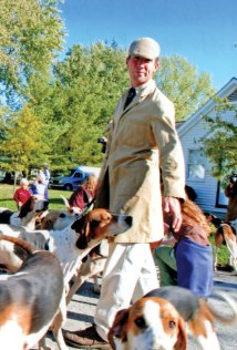 Richard Roberts with the Piedmont hounds. Photo by Karen Buckley.