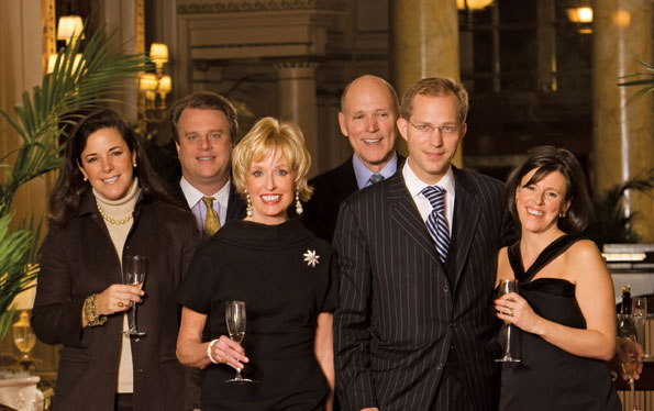 Deborah and Curtin Winsor III, Kathy Kemper and Jim Valentine, and Francis Colt de Wolf III and his wife Nathalie de Wolf, stroll the iconic Peacock Alley in the Willard InterContinental Washington while enjoying a few fine flutes of bubbly off the champagne cart. Photo by Clay Blackmore