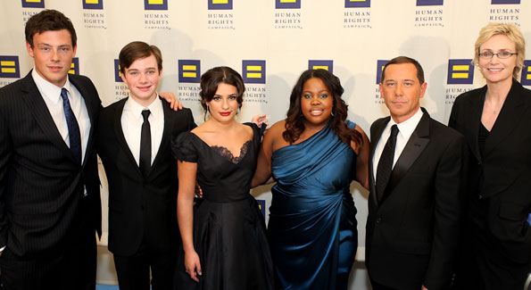 "The cast of ""Glee"" with HRC president Joe Solmonese (second from left)"
