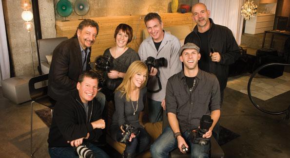 Clay Blackmore, Jodi King, Tim Coburn, Len Depas, Abby Greenawalt, Joseph Allen, Gary Landsman. Photo by Jeffrey Medford on location at Contemporaria.