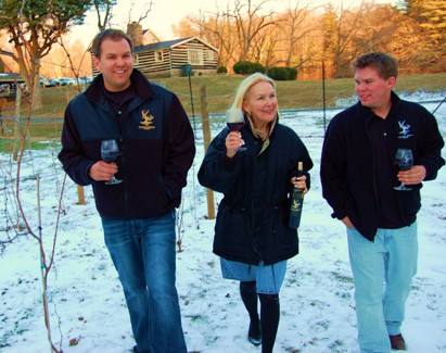 Winemaking is a family affair among the co-owners of Paradise Springs Winery, Kirk Wiles, Jane Kincheloe and Drew Wiles (l-r). Photo by John Arundel