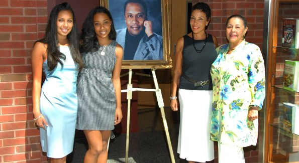 The Goldsons are joined by Ms. Emlily Robertson, Amy's mother, at the dedication of a portrait honoring Dr. Goldson at Howard Unversity's College of Medicine