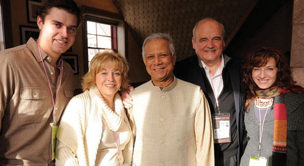 Pat Michell and Muhammad Yunus with guests at a 2010 Sundance Film Festival Board Brunch