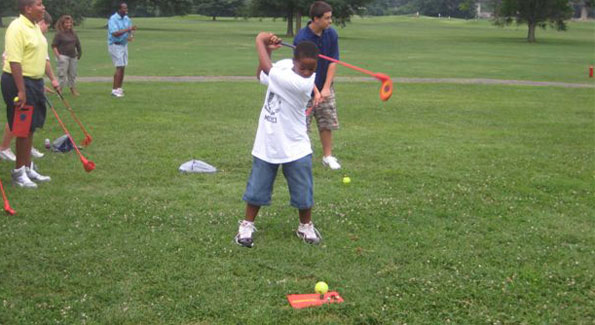 Young golfers tee off during the Northeast Regional Challenge (photo courtesy of The First Tee, Washington, DC chapter)