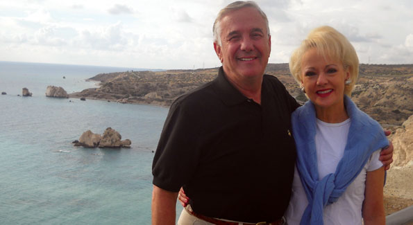 "Climas and Carol Lascaris on vacation at the ""Venus Rock"" in Crete. Photo by Mary Mochary"