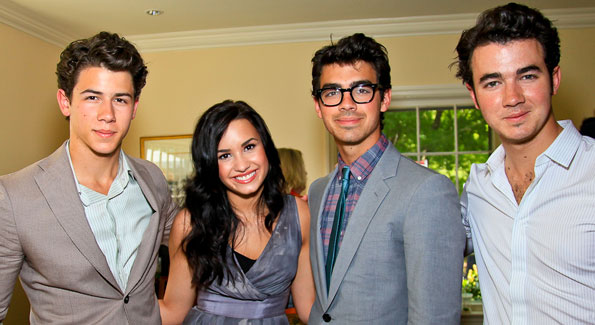 Nick Jonas, Demi Lovato, Joe Jonas, Kevin Jonas. Photo by Tony Powell. Tammy Haddad WHCAD Garden Brunch. May 1, 2010
