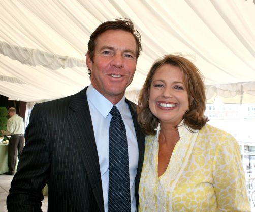 Dennis Quaid and WJLA host Rebecca Cooper at the Thompson/Reuters/McLaughlin Brunch at the Hay Adams.