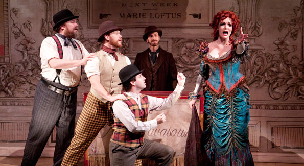Kenneth Cavett, Ben Loving, Michael Grew, David Joseph Regelmann and Caitlin Diana Doyle in the Shakespeare Theatre Company's production of Mrs. Warren's Profession, directed by Keith Baxter. Photo by Scott Suchman.