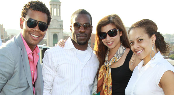 "Johnathan Burns, Ulrick Casseus, Samantha Taylor, and Jyl Woolfolk at the WL kick-off to Summer at the Donovan House rooftop, ADC ""Above DC"" (Photo by Alfredo Flores)"