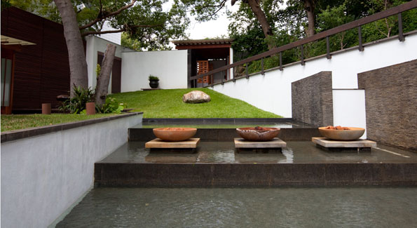 Villa 32 is fed by three different hot springs, which are each represented here by these sculptures. (Photo by Anchyi Wei)
