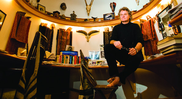Wade Davis in his Travis Prince-designed study-cum-home office.  Photo by Joseph Allen