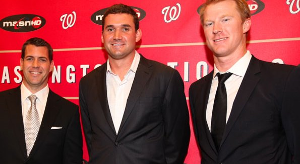 "Ryan Zimmerman (center) with teammates Brodie van Wagenen and Tom Hagan at his ""Night at the Park"" benefit. Photo by Alfredo Flores."