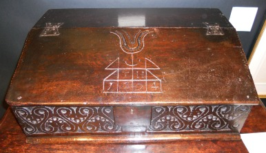 Oak Bible Box (1694, $3,200) from Running Battle Antiques.