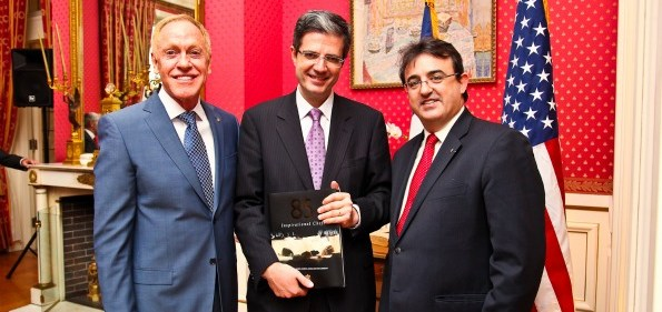 Patrick O'Connell, French Ambassador Francois Delattre and Jaume Tapies at the French Ambassador's VIP reception for Relais & Chateaux Hotels. Photo by Tony Powell.