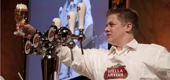 Competitors in Stella Artois' World Draught Masters Competition demonstrated mastery of the 9-Step Pour Ritual at the finals in DC on October 7th.