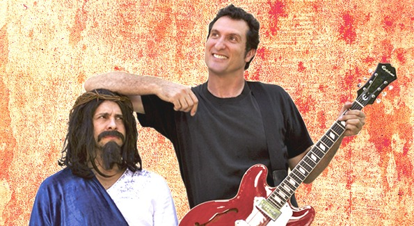 Sean Altman, singer/songwriter for JEWMONGOUS, chilling with Jesus. (Photo curtesy of JEWMONGOUS.com.)