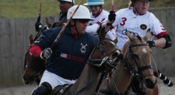 DC-area polo star and team USA captain John Gobin muscles past England's Chris Hyde, as England's Danny Muriel takes out USA's Carlos Galindo (Photo Cred: Clive Bennett Photography)