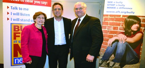 From left: AFT President Randi Weingarten, 'Bully' director Lee Hirsch and NEA President Dennis Van Roekel (Photo courtesy NEA by Patrick Ryan)