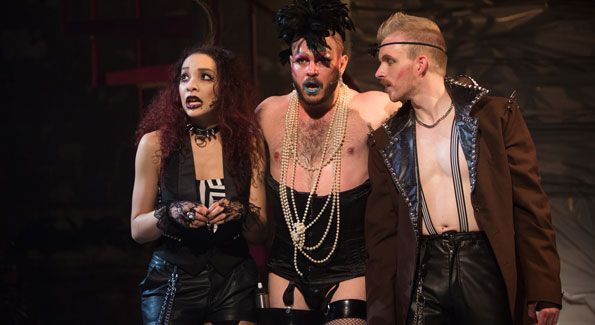 Kayla Dixon (Magenta), Mitchell Jarvis (Frank N. Furter), and Matthew McGee (Riff Raff) Richard O'Brien's The Rocky Horror Show, (Photo by Igor Dmitry)