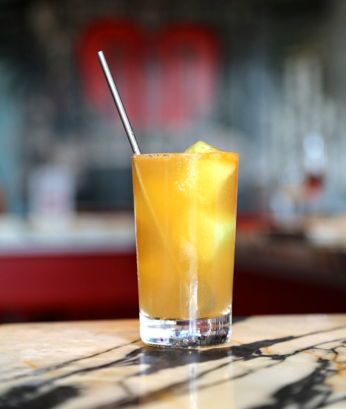 The War Pig Rickey at TNT is cool and refreshing with the addition of frozen melon ice cubes. Photo courtesy of EatGoodFood Group.