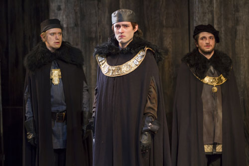 Matthew Amendt as Prince Hal, Patrick Vaill as Lancaster, and Nathan Winkelstein as Gloucester in 'Henry IV,' Part 2. (Photo by Scott Suchman)