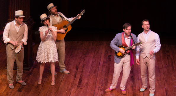 """Fiasco Theater """"The Two Gentlemen of Verona"""" at Folger. (Photo by Jeff Malet)"""