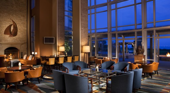 Grab a pre-dinner cocktail, or nightcap, at Michener's Library. Photo courtesy of the Hyatt Chesapeake.