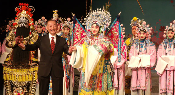 The Jingju Theater Company of Beijing presented an evening of Peking Opera at The Kennedy Center.  Company director joins the cast on stage at the curtain call. (Photo Credit: Patrick D. McCoy)