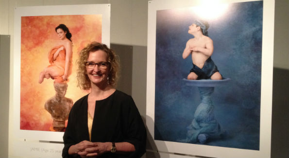 "Anne Geddes with portraits from ""Protecting Our Tomorrows: Portraits of Meningococcal Disease."" (Photo by Erica Moody)"