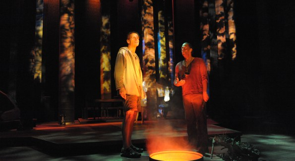 "Paul Morella and Thomas W. Jones II in ""Cherokee"" at Woolly Mammoth Theatre. (Photo by Stan Barouh)"