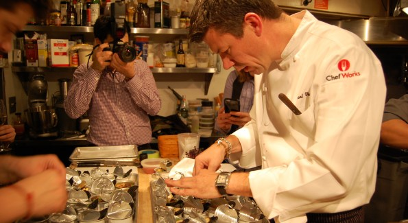 Chef Bart Vandaele preps food for his recent James Beard House Dinner. Photo courtesy of Kelly Magyarics.