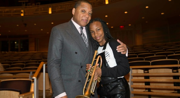 "Wynton Marsalis and local student Aria Summers at The Music Center at Strathmore"". (Photo by Robert Shanklin)"