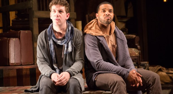 Guildenstern (Adam Wesley Brown, left) and Rosencrantz (Romell Witherspoon) try to figure out what their next plan of action will be in Rosencrantz and Guildenstern Are Dead. On stage at Folger Theatre, May 12 – June 21, 2015. Photo by Teresa Wood.