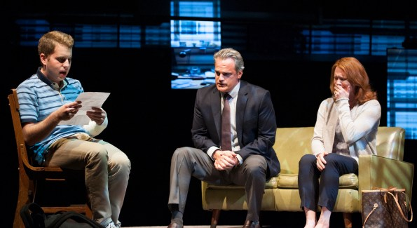 Ben Platt as Evan, Michael Park as Larry and Jennifer Laura Thompson as Cynthia in the world-premiere musical 'Dear Evan Hansen' at Arena Stage. (Photo by Margot Schulman)