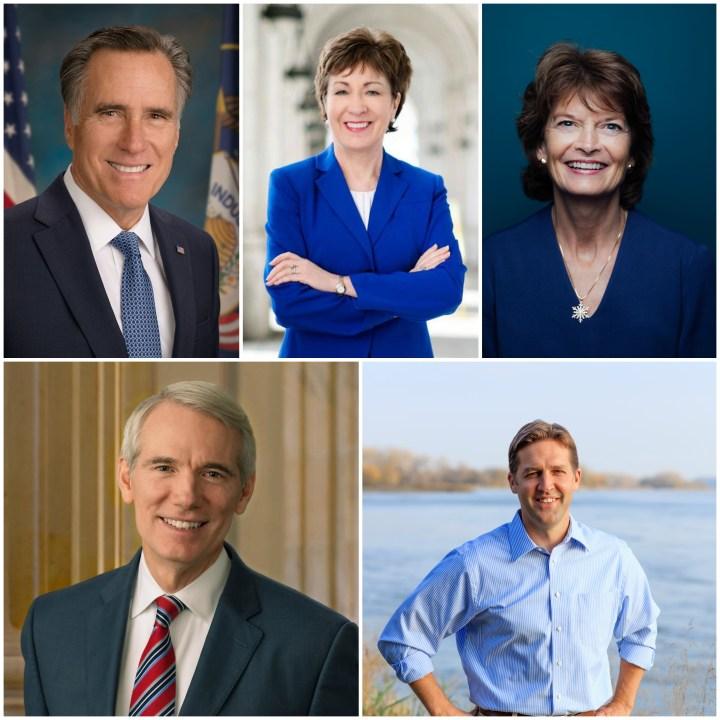 Senators Mitt Romney (R-Utah), Susan Collins (R-Maine), Lisa Murkowski (R-Alaska), Rob Portman (R-Oh