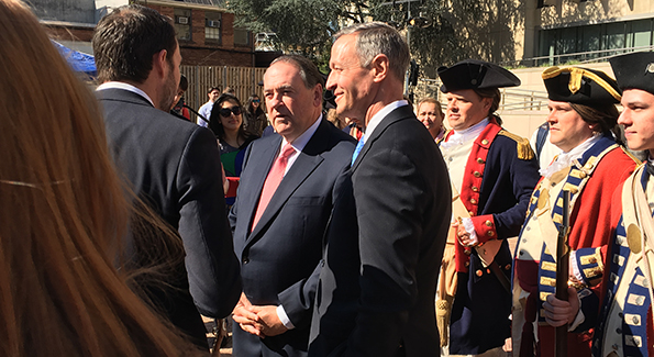 "Mike Huckabee with Martin O'Malley at ""Turn"" event"