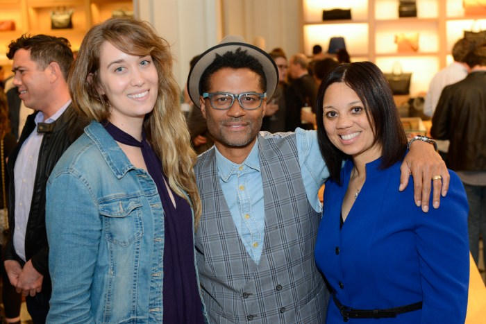 Maggie Cannon of the 9:30 Club, R&B singer Eric Benet and Angie Gates of the D.C. Film Office attend the 'Live at 9:30' launch party at the Shinola store. Photos by Ben Droz.