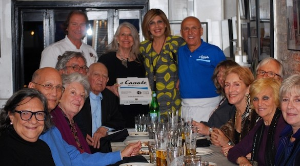 Gennaro Luciano (far left), Joe Farruggio (far right), his wife Teresa, and family members celebrate the partnership of Il Canale and Antica Pizzeria Port' Alba. (Photo credit Janet Staihar)