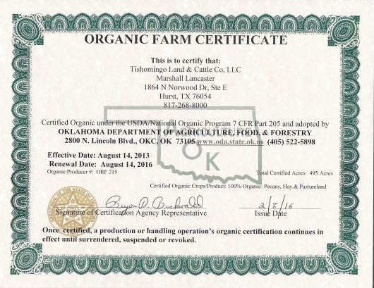 2015 Organic Farm Certificate