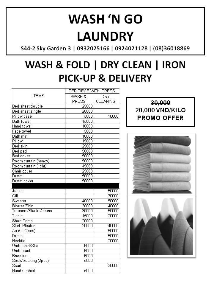 Laundry Pricelist  Wash N Go