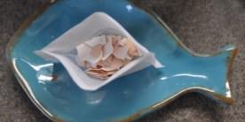 Egg shells in a tea bag