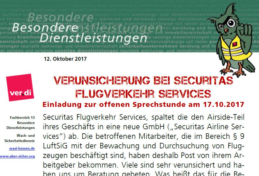 securitas br mitte: betriebsversammlung am 22.11.17 in frankfurt, Einladung