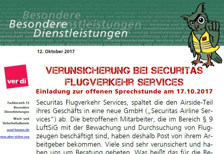 Beratungstermin Securitas Flughafen am 17.10.