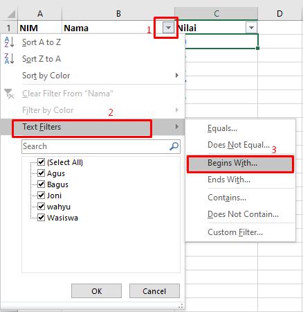 cara filter atribut nama
