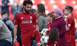 زوجة اللاعب محمد صلاح في الملعب