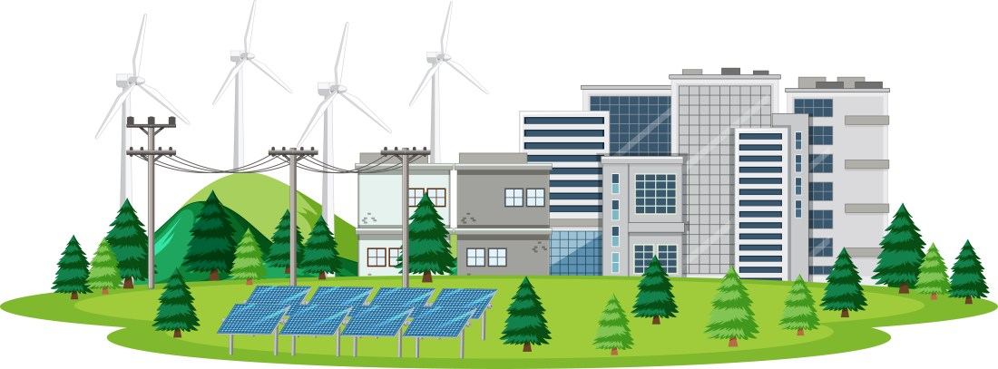 Scene with clean energy in the city illustration