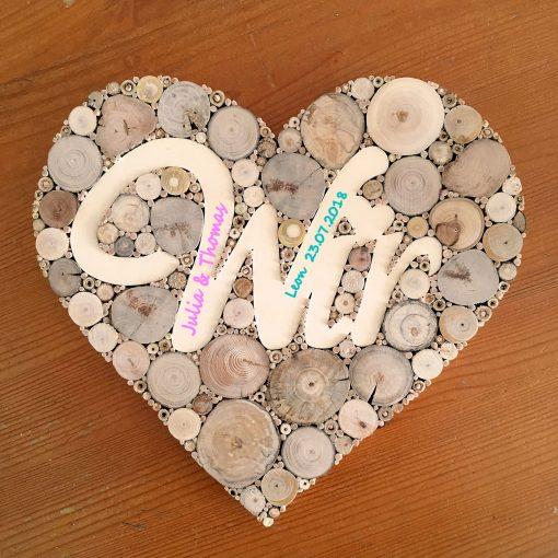 Herz Holz Wir beschriftet