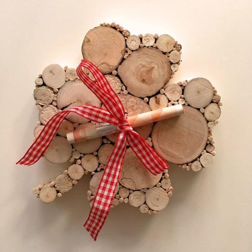 Kleeblatt aus Holz Detailansicht